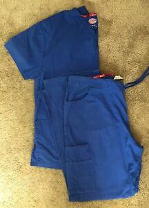 Dickies Women's Scrub Set- Royal Blue-Size M