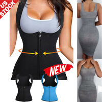 Women Neoprene Waist Trainer Sweat Body Shaper Fat Burner Zipper Vest Sports Top