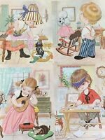4 Vintage LITHO ART Prints LITTLE WORKERS BY JANDRO Children's Room Decor