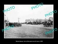 OLD LARGE HISTORIC PHOTO OF BAZINE KANSAS, VIEW OF THE MAIN St & STORES c1890
