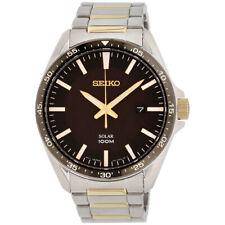 Seiko Essentials Eco drive movimiento Esfera Negra para Hombre Reloj SNE485
