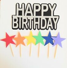 Cake Topper, Happy Birthday, Stars Cupcake Toppers