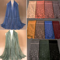 Women Hollow Flower Long Muslim Hijab Pashmina Shawl Scarf Scarves Stole Wrap