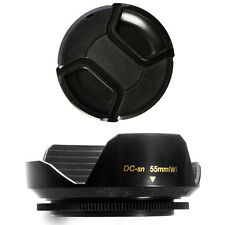 55mm Wide Lens Hood and Lens Cap for Sony DSLR A330 A230 A290 A300 A350 A380,NEW