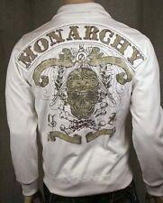 MONARCHY Men's White Sugar Skull Track Jacket L NWT
