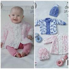 Tejer patrón bebé puente de abrigo mangas largas & Sombreros Cuddles King Cole 4810