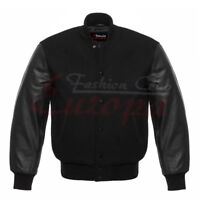 Varsity Black Wool Letterman College Jacket With Black Real Leather Sleeves