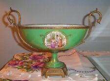 ATQ SUPERB PALATIAL FRENCH SEVRES HAND PAINTED GREEN PORCELIAN CENTERPIECE BOWL