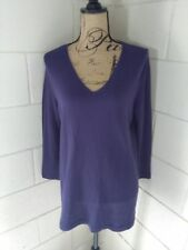 Womens EILEEN FISHER Organic Cotton Tunic Size M Purple V Neck Top Thin Knit