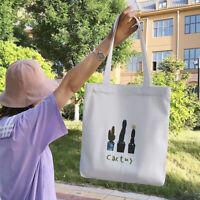 Women Cactus Shoulder Tote Bag Canvas Handbags Reusable Cotton Shopping Bags