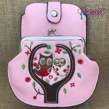 Pink Owl Purse Small bag with Mobile Phone Spectacles Holder Long & Short Straps