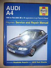 AUDI A4 HAYNES SERVICE & REPAIR MANUAL PETROL + TURBODIESEL 1995-2000 M-V
