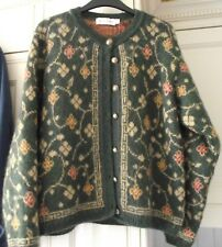 Holmewood - Green Patterned Mohair Cardigan - Size S . 10-12