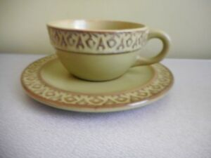 S.L.C CAPPUCCINO  CUP &  SAUCER ITALY OLIVE GREEN & GREY GEOMETRIC ON RIM