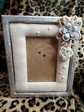 Shabby Chic Farmhouse Silver BURLAP PEARL PICTURE FRAME 6x4 tabletop Cottage