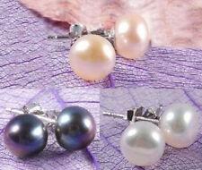 Wholesale 3Color Genuine Natural Akoya Cultured Pearl Silver Stud Earrings AAA+