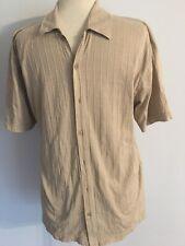 Claiborne Men's Short Sleeve Beige White Stripes Polo Shirt Size L
