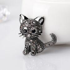 Women Girls Lovely Cat Kitten Rhinestone Collar Brooch Pin Jewelry Gift Fashion