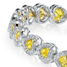 Sterling Silver Heart Shaped Canary Yellow CZ Tennis Bracelet with Cubic Zircons