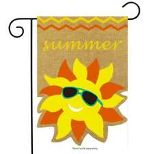 "Summer Sunface Burlap Garden Flag Seasonal Sunshine 12.5"" x 18"" Briarwood Lane"