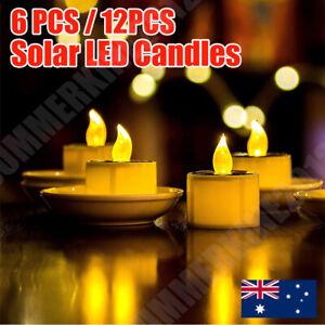 12 x Solar Powered LED Candles Flameless TeaLights Lamp Wedding Party Xmas Decor