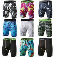 Men's Workout Shorts Sports Boxer Brief Running Jogging Camo Compression Trunks