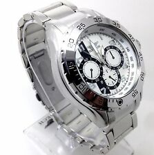 103V Men Police Dress Casual  Wrist Watch Stylish Silver Band Chronograph Dial