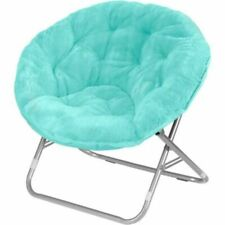 Faux-Fur Saucer Chair Light Blue