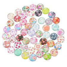 50 Mixte Cabochons Verre Fleurs Motif Multicolore Ronde Pour Support 12mm