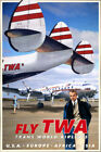 TWA Howard Hughes Poster Plane Art Constellation Trans World Airlines Print 285