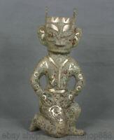 """12,4 """"dynastie en bronze d'argent de la Chine  à genou sculpture de San xingtui"""