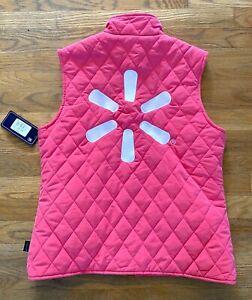 Walmart Associate Mock Neck Quilted Vest Pink Size MEDIUM Employee Vest NEW NWT