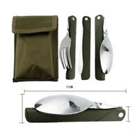 3Pcs Foldable Stainless Steel Fork Knife Spoon Cutlery Set Camping Tableware NEW