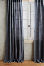 NEW ANTHROPOLOGIE BLUE STRIPED LINEN CURTAIN WINDOW PANEL 50 X 96""