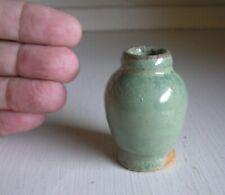 Arts & Crafts Pottery Mini Miniature Green Cabinet Vase ~ Maker Unknown