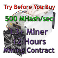 Bitmain Antminer L3+ 500 MHash/sec Guaranteed 12 Hours Mining Contract Scrypt
