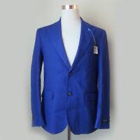 Tailorbyrd Men Jacket 40R Blue Linen Blend Double Vent Two Botton Front