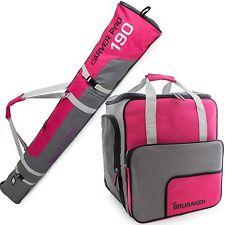 BRUBAKER 'Super Function' Kombi Set Stiefeltasche + Skisack 190cm Pink Grau Lila