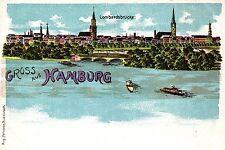 Hamburg, Farb-Litho mit Lombardsbrücke, um 1900/05