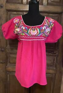 VINTAGE Mexican Huipil Blouse XL HOT PINK Cotton Colorful Floral Embroidery NICE