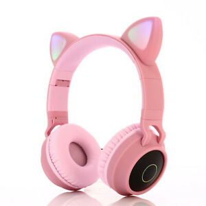 wireless Headset Gamer Pink Cat Ear Headste Cute With Microphone Gaming Overear