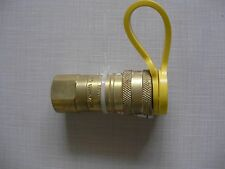 "All Brass Natural Gas Grill Quick Disconnect Hose Fitting 3/8"" with Cap New"