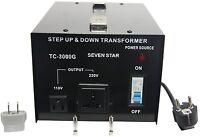 Heavy-duty 3000 Watt Voltage Converter Transformer Step Up/Down 110 120- 220 240
