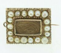 9ct Gold Brooch - 9ct Rose Gold Pearl Georgian Mourning Brooch