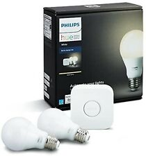 Philips Hue White A19 60W LED Smart Bulb Starter Kit 2 PK W/ HUB- Brand New!!!