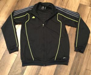 Men's Adidas Climalite Predator Jacket. Black Gray w Yellow Piping/Medium