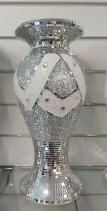 40cm Mosaic Vase Diamond Silver Crystal Decorative Mirror Flower Luxury Romany