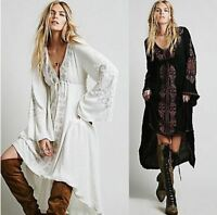 Women Ethnic Flower Embroidered Cotton Tunic Hippie Boho Long Maxi Dress