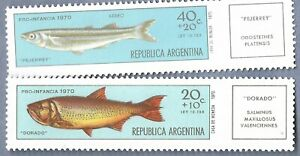 ARGENTINA 2 FISH POSTAGE STAMPS MNH
