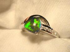 Opal Ring Ladies Sterling Silver 925 & CZ, 8x 8mm Trillion Triplet. item 070313.